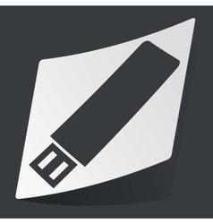 Monochrome USB stick sticker vector