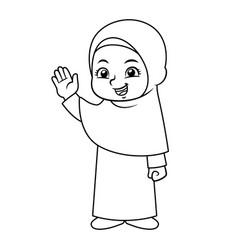 Moslem girl hajj bw vector