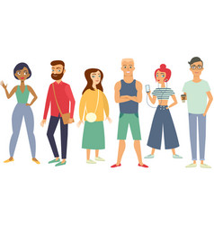 Multiracial group of young people vector