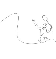 One continuous line drawing young badminton vector