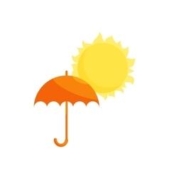 Orange umbrella and sun icon cartoon style vector image