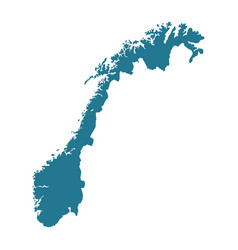 Outline silhouette of norwegian map vector