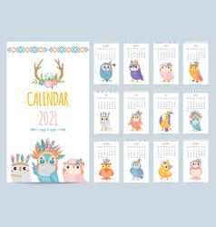 owl calendar color gift 2021 calendar ethnic vector image