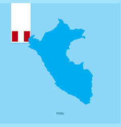 peru country map with flag over blue background vector image