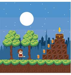 Pixelated urban videogame scenery vector