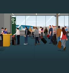 Plane passengers boarding plane on the vector
