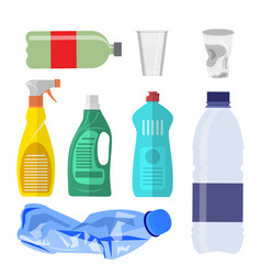 plastic waste collection on white vector image