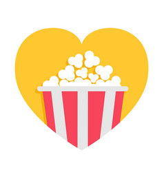 popcorn box icon red yellow strip heart shape i vector image