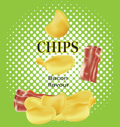 Potato chips with bacon vector