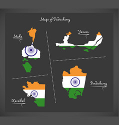 Puducherry detailed maps map with indian national vector