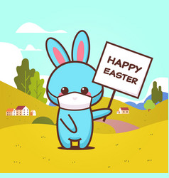 rabbit holding board happy easter bunny wearing vector image