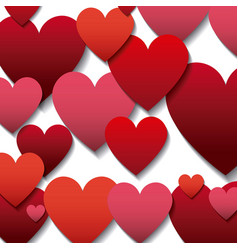 red and pinks hearts background vector image