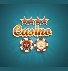 Red sign casino for online casino poker roulette vector