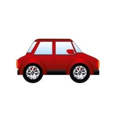 red silhouette with small automobile vector image