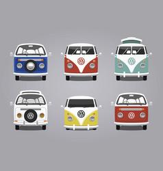 Retro camping van collection design vector