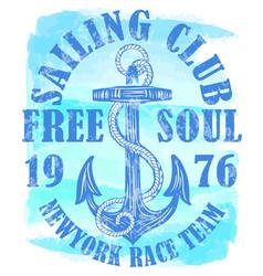 sailing club logo with anchor vector image
