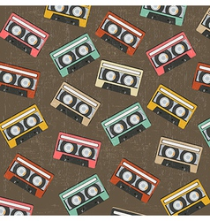 seamless background with vintage analogue music vector image