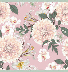 seamless pattern vintage beige dahlia flowers vector image