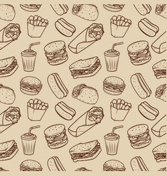 Seamless pattern with fast food pattern design vector