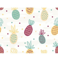 Seamless pineapple pattern with polka dots vector
