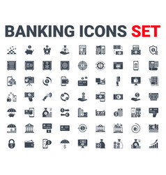 set banking icons glyph for concepts and web apps vector image