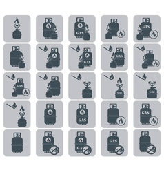 Set camp stove icons vector