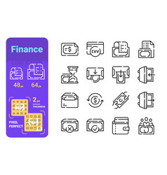 set finance simple lines icons money and vector image