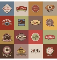Set of coffee labels badges and logos for design vector image