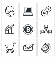 Set of Cryptocurrency Icons Programmer vector image