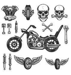 set of vintage motorcycle design elements on vector image