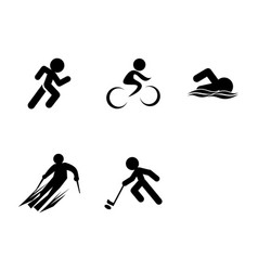 Set triathlon sport icons vector