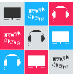 set video game console carnival garland vector image