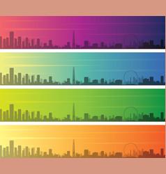 singapore multiple color gradient skyline banner vector image