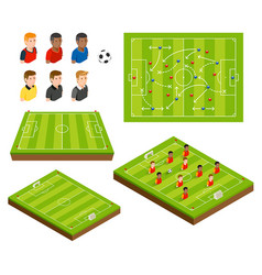Soccer football field and soccer player isometric vector