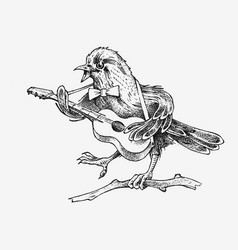 Sparrow bird plays guitar and sings in a vector