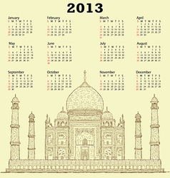 taj mahal vintage 2013 calendar vector image vector image