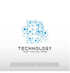 Technology logo with initial b letter network vector