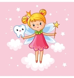 The little girl princess with a magic wand vector