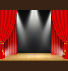 Theater stage with spotlights and red curtain vector