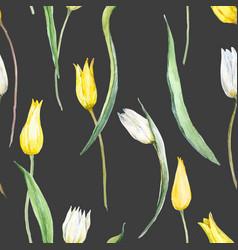 Watercolor tulip pattern vector