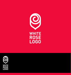 white rose logo spa emblem vector image