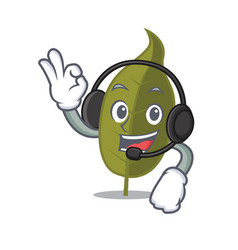 With headphone bay leaf mascot cartoon vector