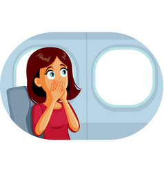 Woman sitting window on an airplane vector