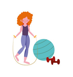 Woman with ball dumbbells exercises practicing vector