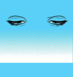 women eyes look down vector image