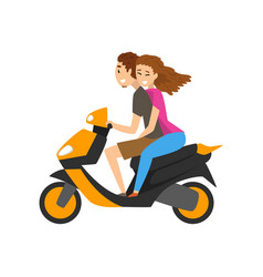 Young man and woman in love riding scooter vector