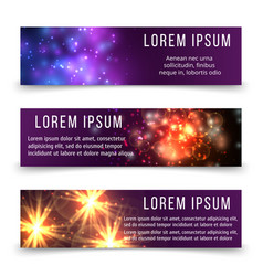 Abstract banners template with space objects vector