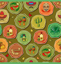 cute various mexican icons seamless vector image vector image