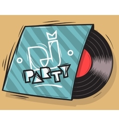 DJ Party Poster Design With Vinyl Record Package vector image