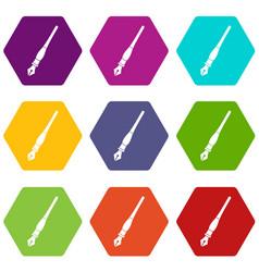 ink pen icon set color hexahedron vector image